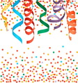 Carnival streamers and confetti background vector image