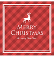 christmas card with deer and gingham pattern vector image