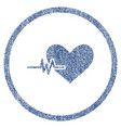 heart pulse rounded fabric textured icon vector image