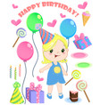 set of birthday cartoon party elements and vector image