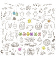 set of easter doodles vector image