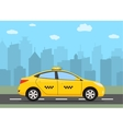 Yellow taxi car in front of city silhouette vector image vector image