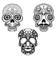 Zentangle stylized patterned Skulls set for vector image