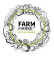 vegetable hand drawn vintage wreath vector image vector image