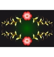 Floral ornament and red flowers on dark EPS10 vector image