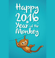 New Year with cartoon monkey-symbol vector image