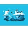 Arctic polar bear with penguins vector image vector image