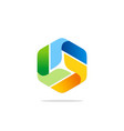circle colorful ribbon modern technology logo vector image