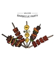 Colorful of a BBQ party on a vector image