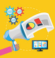 hand and megaphone related with digital marketing vector image