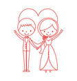 married couple with heart avatars characters vector image
