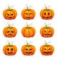 pumpkin with funny faces halloween cartoon vector image