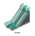 Escalator for lowering and lifting the airport vector image