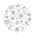 Outline web icon set - security and technology vector image vector image
