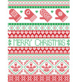 Merry christmas pattern with mittens vector image