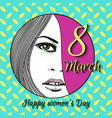 greeting card with 8 march womens day 16 vector image
