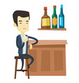 smiling man sitting at the bar counter vector image
