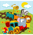 animals by train vector image
