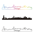 Chicago skyline linear style with rainbow vector image
