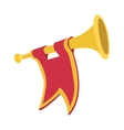 Trumpet with red flag cartoon vector image