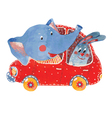 elephant and hare in car vector image