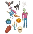Halloween horror party elements and icons vector image