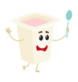 funny yougurt character with smiling human face in vector image