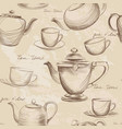 cup pot kettle seamless pattern tea time hot vector image