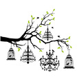 tree with chandelier and birdcage vector image vector image