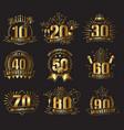 anniversary golden numbers set vector image
