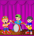 children in band playing on stage vector image