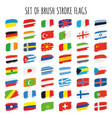 collection of brushstroke flags vector image