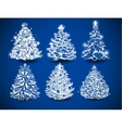Hand-drawn Christmas trees vector image