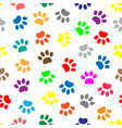 seamless pattern with colored paws vector image