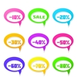 Speech bubbles set with discount message vector image
