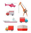 Set of Transports for Worldwide Goods Delivering vector image