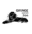 silhouette lion in grunge design style animal icon vector image