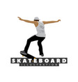 skateboarder on white background vector image vector image