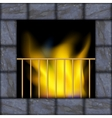 fire in the fireplace vector image