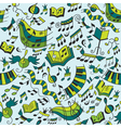 Musical seamless pattern with doodles design eleme vector image