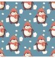 Christmas penguins pattern vector image
