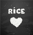 Bowl of white rice on blackboard vector image