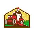 Gardener Landscaper Ride On Lawn Mower Retro vector image