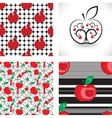 Seamless apple background pattern collection vector image