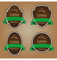 Set of dark labels with green tape Coffee theme vector image