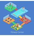 Isometric Gym Fitness Club Sport Center Interior vector image