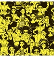 Saeamless pattern with doodle women vector image