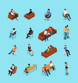sitting people characters set vector image