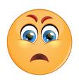 Depressed and sad emoticon vector image