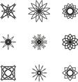 A set of nine black spiral logo on white vector image